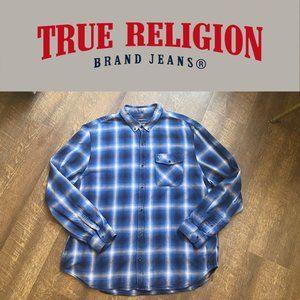 True Religion 3XL Slim Fit Blue Cobalt Plaid Shirt